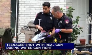 Teenager Shot Water Gun Fight