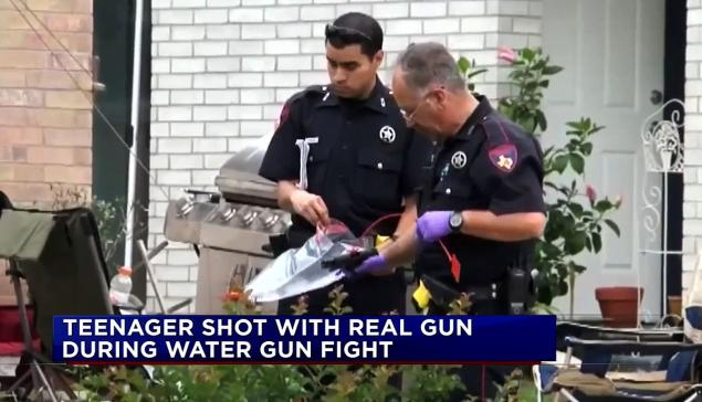 Teenager Shot Water Gun Fight