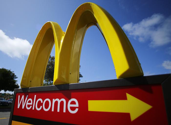 A McDonald's restaurant sign is seen at a McDonald's restaurant in Del Mar, California