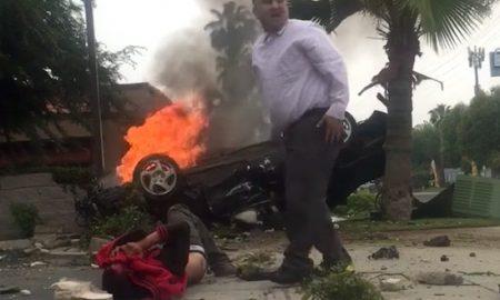 Guy Rescues Girl Burning Car