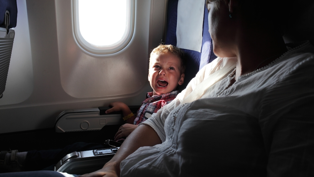 Kid scared plane