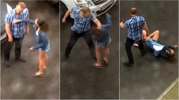 Russian Man Beats Girlfriend