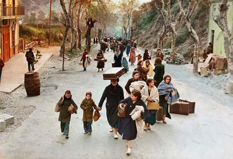 Colourised WW2 Refugees 2