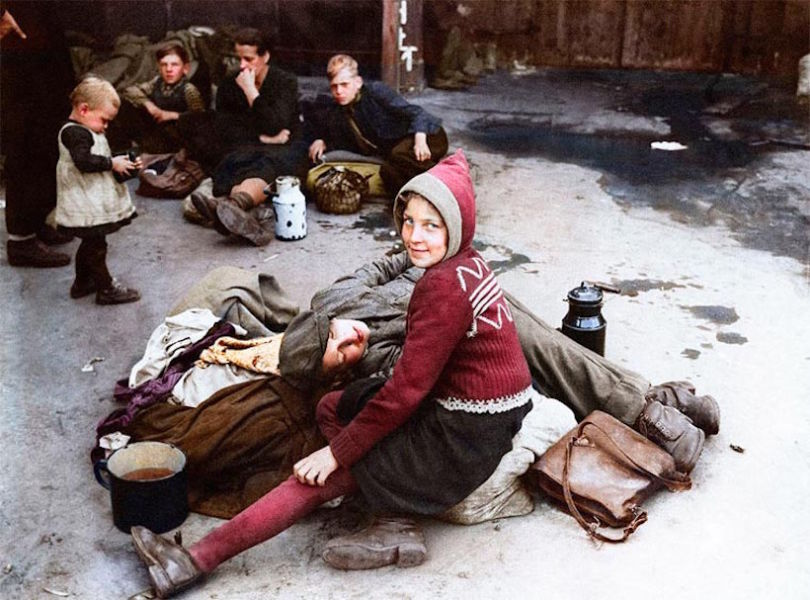 Colourised WW2 Refugees 5