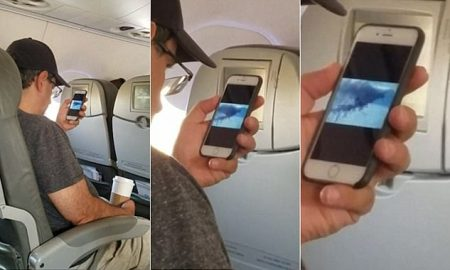 Passenger watching 9:11 footage