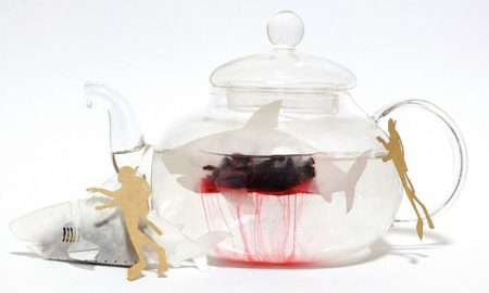 Shark shaped tea bags