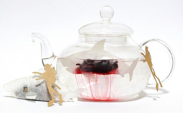 Shark shaped tea bags