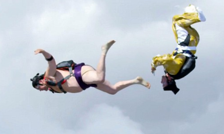 Skydiving sumo wrestler