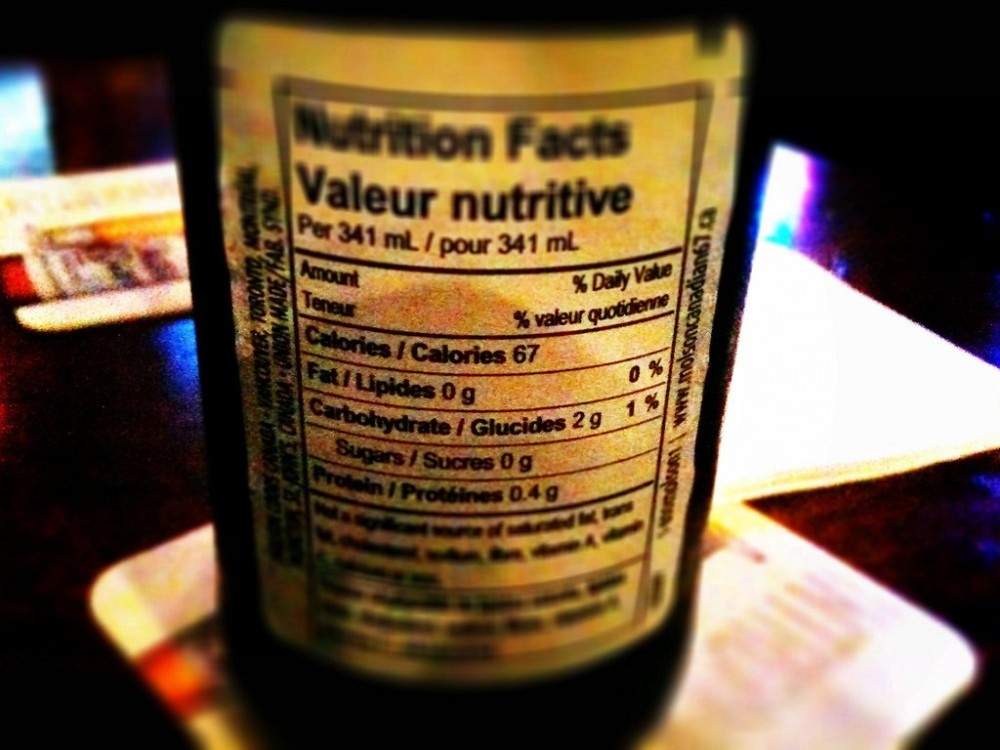 beer nutrition label
