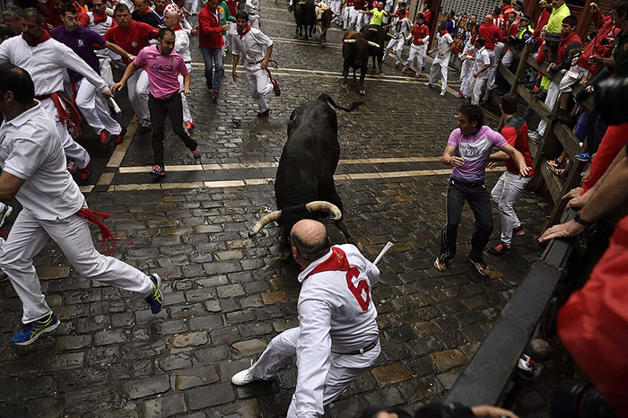 A reveler runs close to a Nunez del Cubillo's fighting bulls on the Estafeta corner during the seventh day of the running of the bulls at the San Fermin Festival, in Pamplona, northern Spain, Wednesday, July 13, 2016. An American was gored in the left leg and taken to a city hospital, spokesman said, and four other runners were hospitalized. Revelers from around the world flock to Pamplona every year to take part in the eight days of the running of the bulls. (AP Photo/Alvaro Barrientos)
