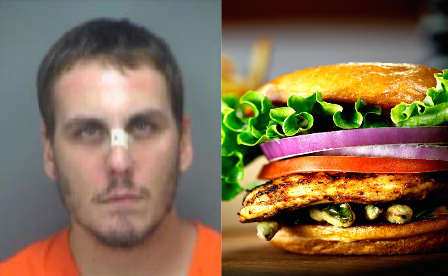 man chicken burger