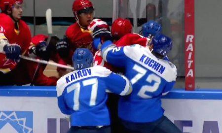 Kazakhstan V China Hockey fight