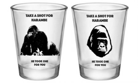 Harambe shotglasses