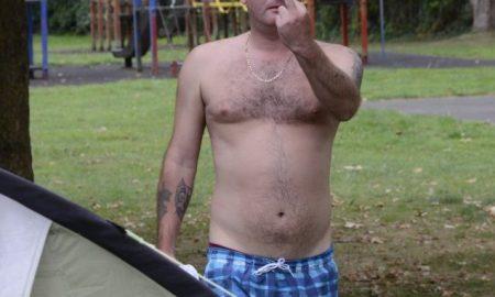 Swearing man in park