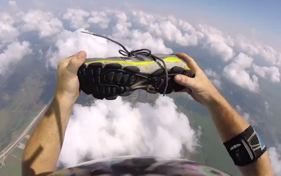 skydiver-catches-shoes
