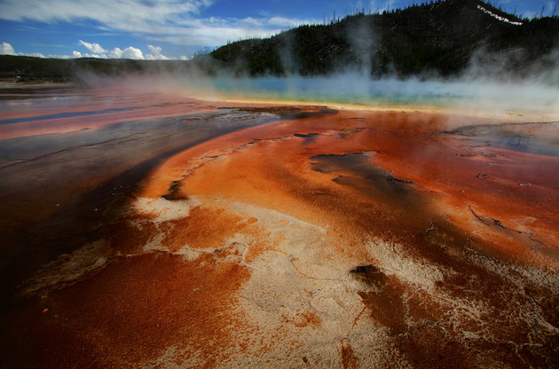 The Grand Prismatic Spring, the largest in the United States and third largest in the world, and it's colored bacteria and microbial mats in Yellowstone National Park, Wyoming