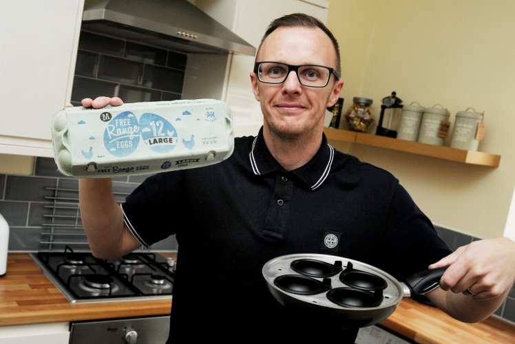 "John Landy who cracked 10 double-egg yolks from the same box, it's thought that one double egg-yolk is very rare, 1,000 to one. A family man beat huge odds when he cracked open TEN eggs only to find they all had DOUBLE YOLKS. See ROSS PARRY story RPYEGGS. John Landy, 40, was totally gobmsacked when he cracked one egg, then another and another until he finished the box and realsied they were all rare double yolkers. The odds of finding ONE of the these scarce eggs is said to be 1,000 to one, so the odds on finding ten - in a row will be staggering. Dad-of-two John, said: ""When I got one double yolk, I was quite surprised because I had never see one before."