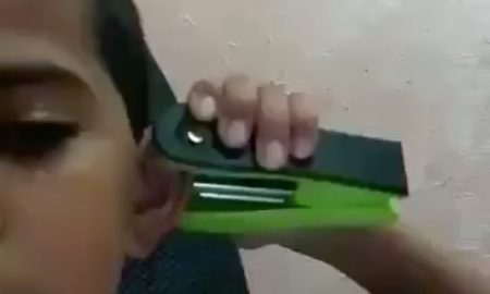 Kid Home Made Ear Piercing