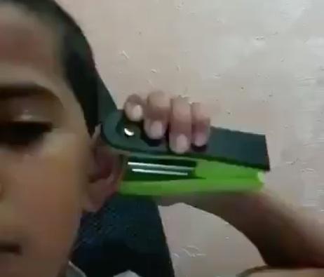 Kid Home Made Ear Piercing
