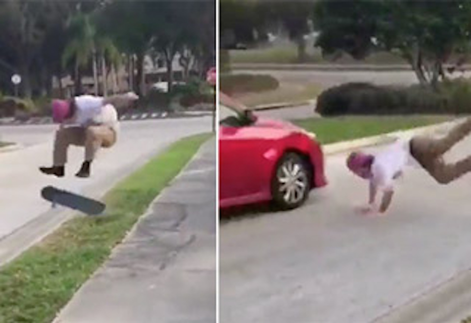 Skateboarder Crushed Extremely Close Call