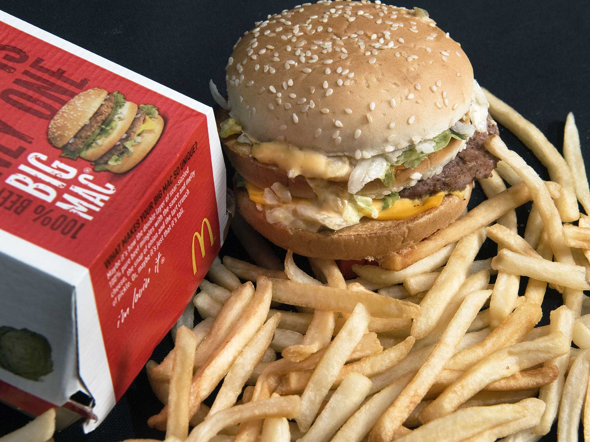 A McDonald's Big Mac and French Fries ar