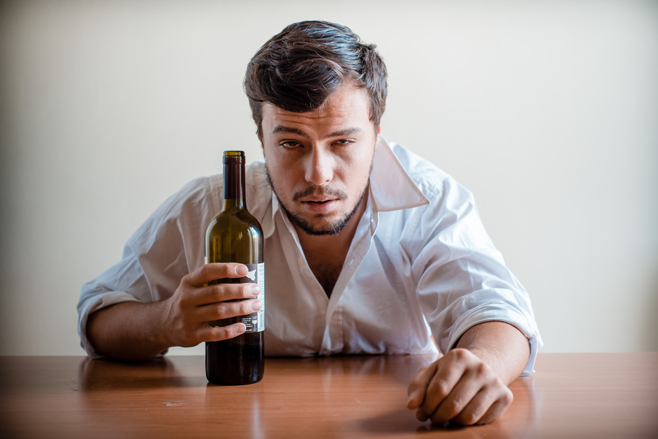 drunk young stylish man with white shirt