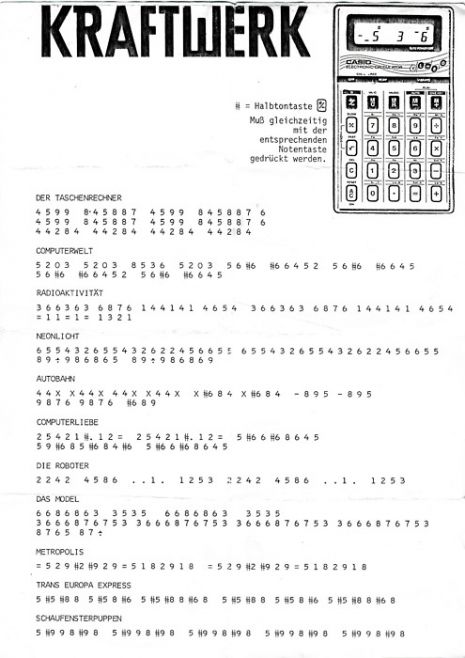 Kraftwerk sheet music