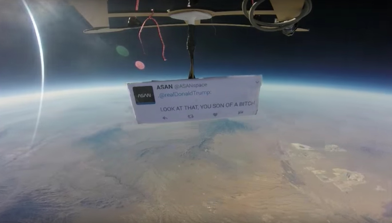 Trump protest in space