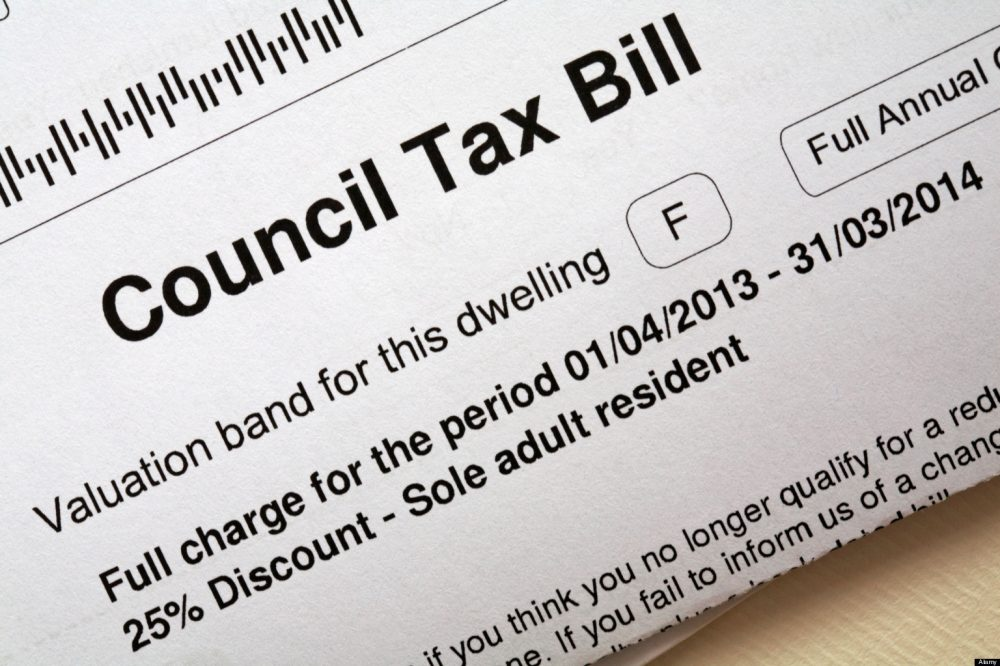 Council Tax bill 2013/2014 for property dwelling band F with 25% discount for sole adult resident