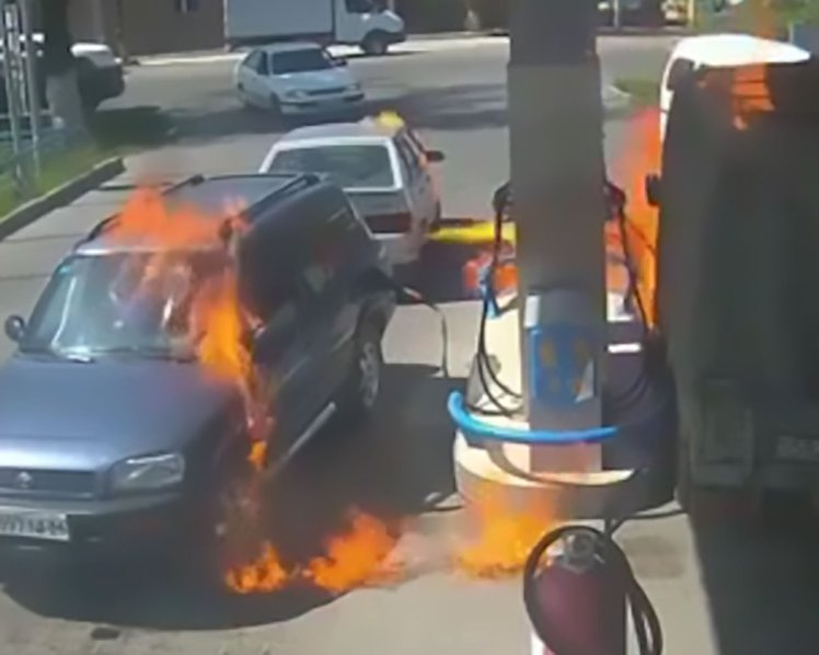 Driver Using Lighter To See Sets Petrol Station Alight