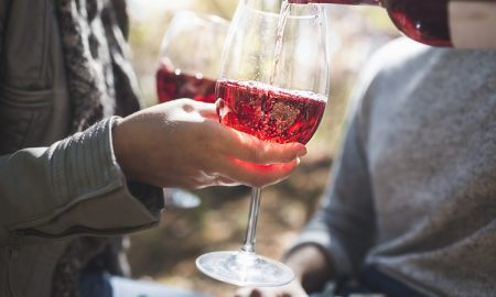 Cropped close up of couple pouring rose wine in forest