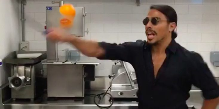 Salt Bae Chopping Up Fruit
