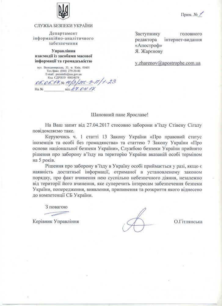 Ukrainian Letter