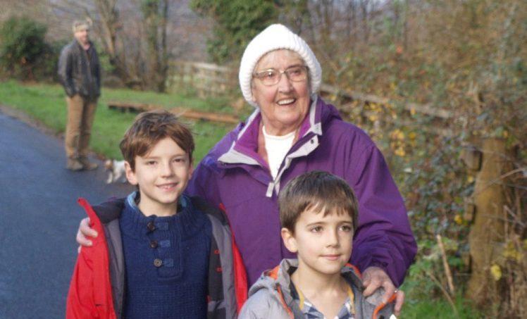 Valerie with grandkids