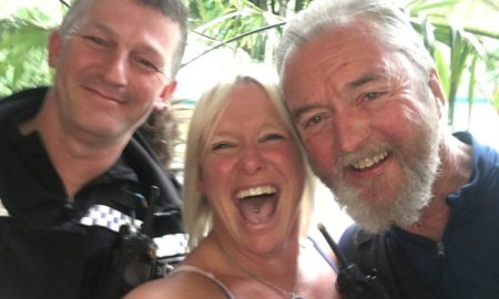 Tanya Powell, with the two officers who escorted her from the pub