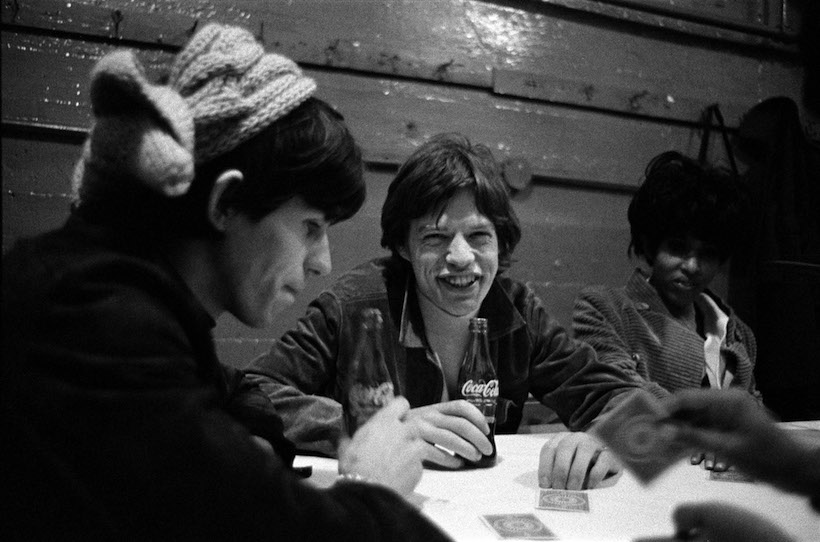 Keith Richards & Mick Jagger with Nona Hendrix backstage USA 1965