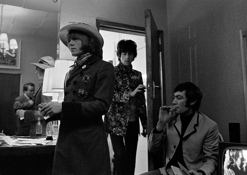 Brian Jones, Keith Richards & Charlie Watts backstage London Palladium 1967