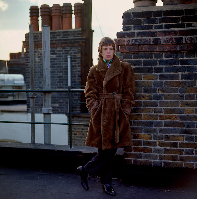 Mick Jagger on the roof of Harley House London 1966