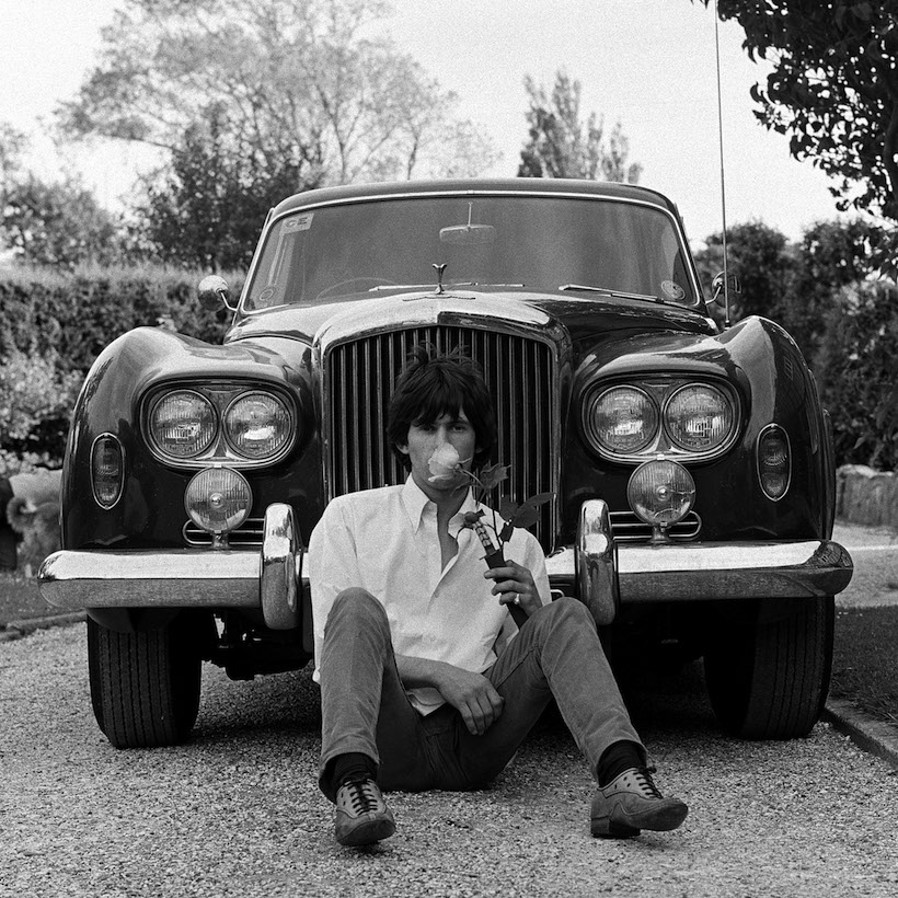 Keith outside his house Redlands in West Sussex with his beloved Bentley he called Blue Lena after Lena Horne.