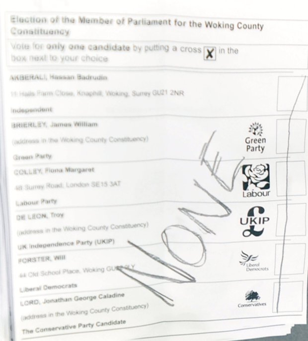 Woking General Election count - June 8th 2017 - HG Wells, Woking. Examples of spoilt papers. GL