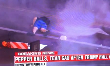 Protester Shot Pepper Ball