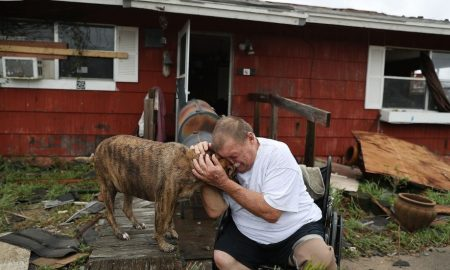 Hurricane Harvey man with dog