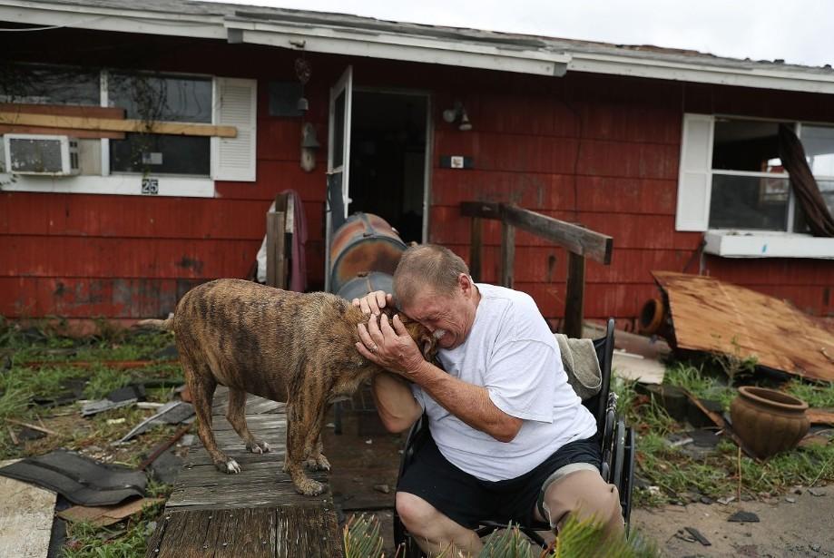 Hurricane Harvey man with dog