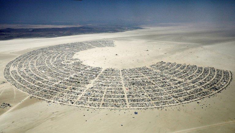 Black Rock City is seen in the Black Rock Desert of Nevada