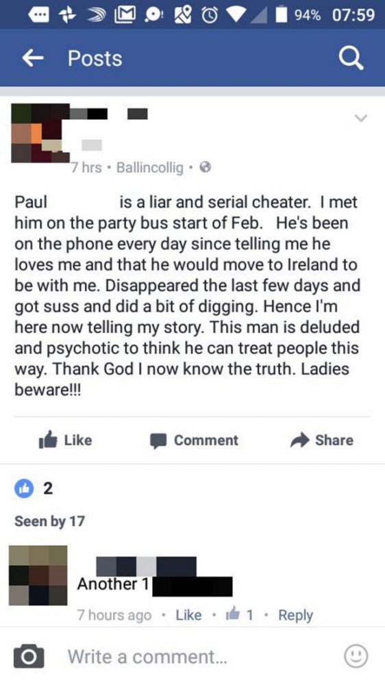 Facebook post paul
