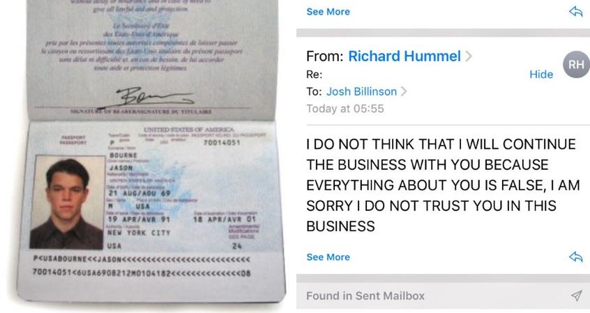 Troll scam Jason Bourne passport