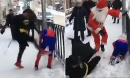Batman Spiderman Santa