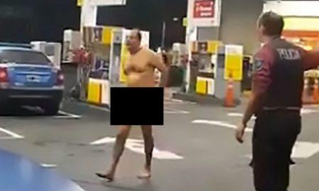 Naked Man Petrol Station