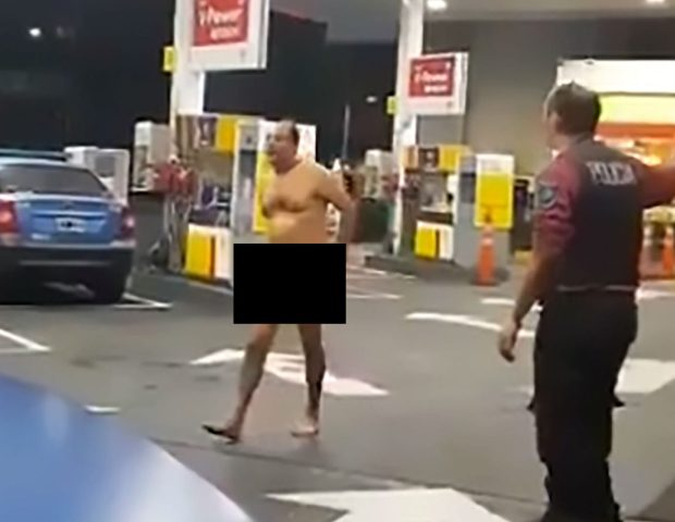 Naked Man Petrol Station