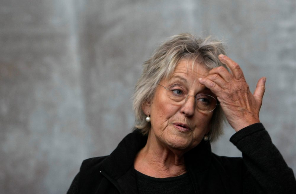 Author Germaine Greer gestures at a media launch in Melbourne